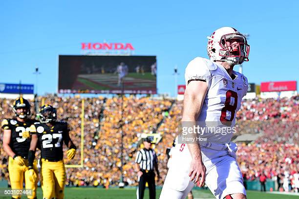 Quarterback Kevin Hogan of the Stanford Cardinal runs in an 8 yard touchdown in the first quarter against the Iowa Hawkeyes in the 102nd Rose Bowl...