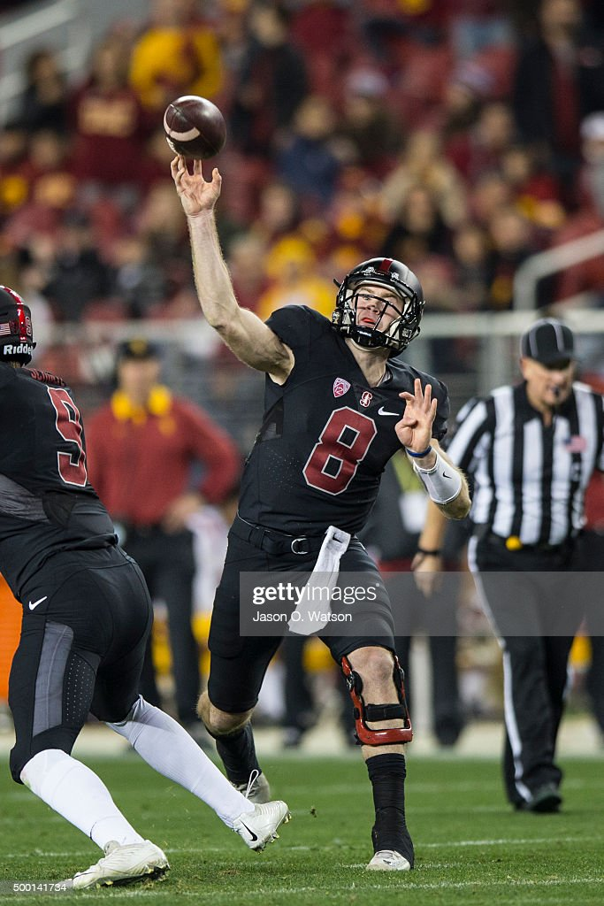 Quarterback Kevin Hogan #8 of the Stanford Cardinal throws against the USC Trojans during the fourth quarter of the Pac-12 Championship game at Levi's Stadium on December 5, 2015 in Santa Clara, California. The Stanford Cardinal defeated the USC Trojans 41-22.