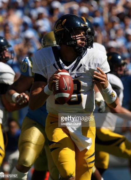Quarterback Kevin Riley of the California Golden Bears rolls out with the ball against the UCLA Bruins on October 17 2009 at the Rose Bowl in...