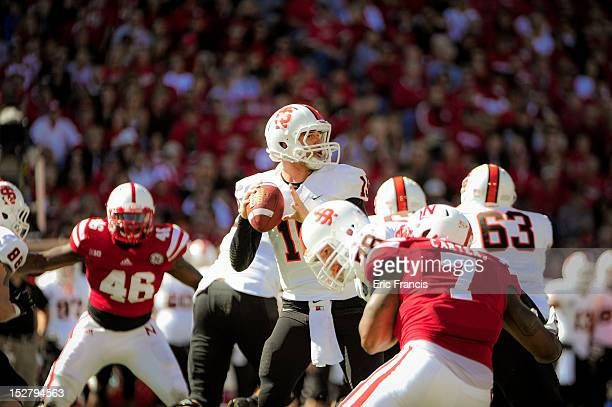Quarterback Kevin Yost of the Idaho State Bengals scans the Nebraska Cornhuskers defense during their game at Memorial Stadium on September 22 2012...