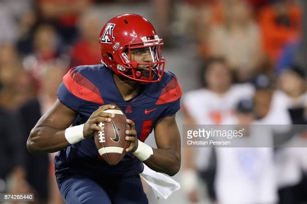 Quarterback Khalil Tate of the Arizona Wildcats looks to pass during the second half of the college football game against the Oregon State Beavers at...
