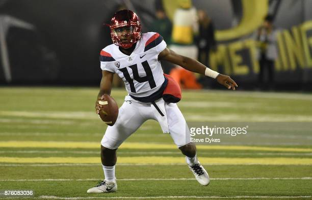 Quarterback Khalil Tate of the Arizona Wildcats runs with the ball during the second half of the game against the Oregon Ducks at Autzen Stadium on...