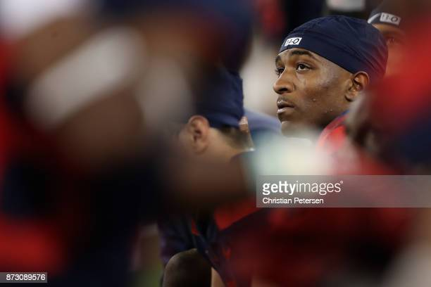 Quarterback Khalil Tate of the Arizona Wildcats watches from the bench during the second half of the college football game against the Oregon State...