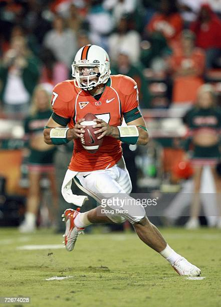 Quarterback Kirby Freeman of the University of Miami Hurricanes runs as he looks to pass during the game against the Boston College Golden Eagles at...