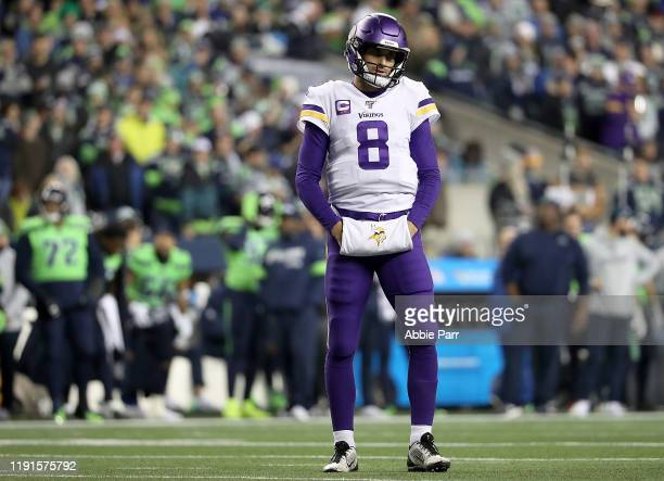 Quarterback Kirk Cousins of the Minnesota Vikings reacts to a play during the game against the Seattle Seahawks at CenturyLink Field on December 02,...