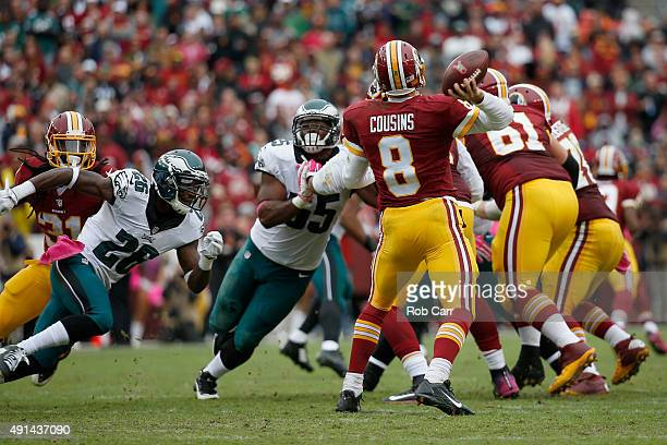Quarterback Kirk Cousins of the Washington Redskins passes against the Philadelphia Eagles during the second half at FedExField on October 4 2015 in...