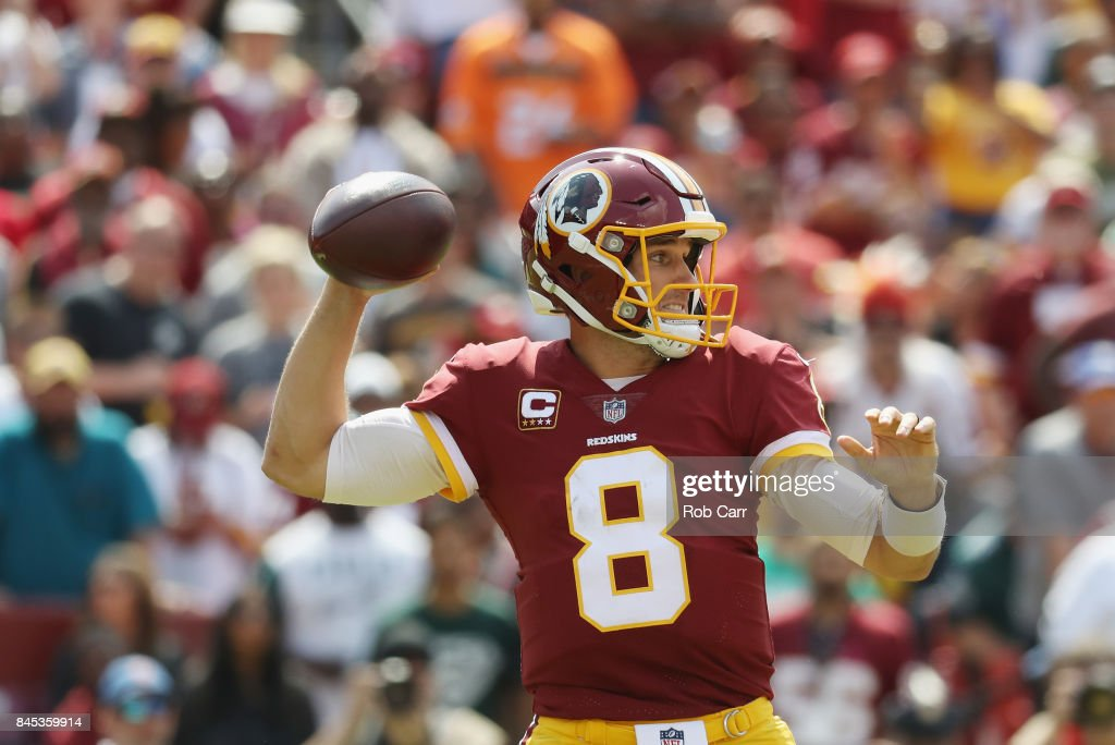 Quarterback Kirk Cousins #8 of the Washington Redskins throws against the Philadelphia Eagles in the second quarter at FedExField on September 10, 2017 in Landover, Maryland.