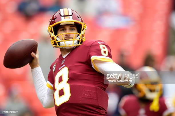 Quarterback Kirk Cousins of the Washington Redskins warms up before a game against the Denver Broncos at FedExField on December 24 2017 in Landover...