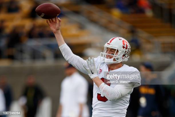 Quarterback KJ Costello of the Stanford Cardinal warms up before the game against the California Golden Bears at California Memorial Stadium on...