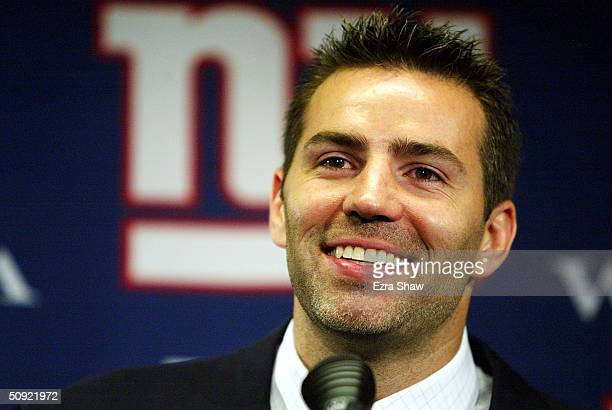 June 3: Quarterback Kurt Warner attends a press conference where he announced a two-year contract with the New York Giants on June 3, 2004 at Giant...