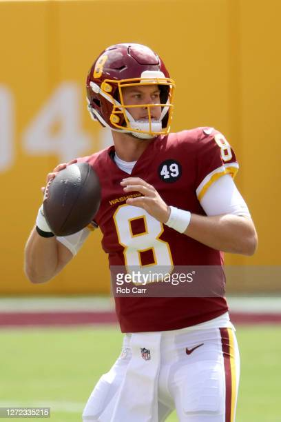 Quarterback Kyle Allen of the Washington Football Club warms up against the Philadelphia Eagles at FedExField on September 13, 2020 in Landover,...
