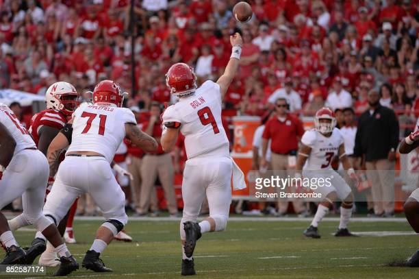 Quarterback Kyle Bolin of the Rutgers Scarlet Knights attempts a pass to wide receiver Jawuan Harris against the Nebraska Cornhuskers at Memorial...