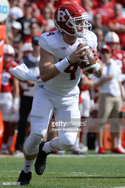Quarterback Kyle Bolin of the Rutgers Scarlet Knights attempts to pass against the Nebraska Cornhuskers at Memorial Stadium on September 23 2017 in...