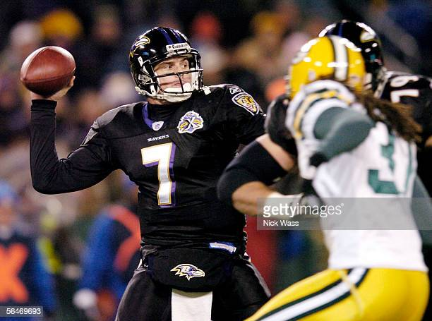 Quarterback Kyle Boller of the Baltimore Ravens throws a pass under pressure against the Green Bay Packers during the first quarter at M&T Bank...