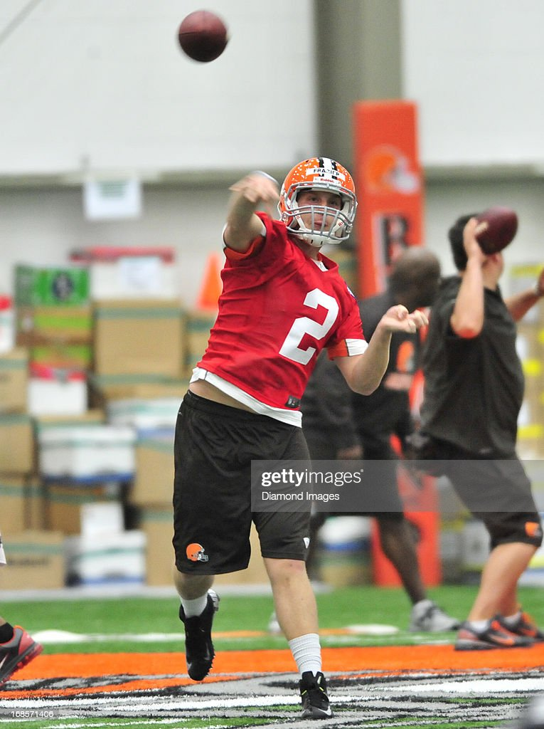 Quarterback Kyle Frazier of the Cleveland Browns throws a pass during a rookie mini-camp practice on May 11, 2013 at the Cleveland Browns headquarters in Berea, Ohio.