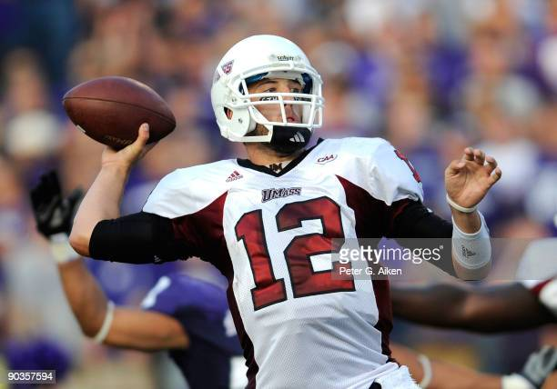 Quarterback Kyle Havens of the Massachusetts Minutemen gets ready to through a pass down field during the second quarter against the Kansas State...