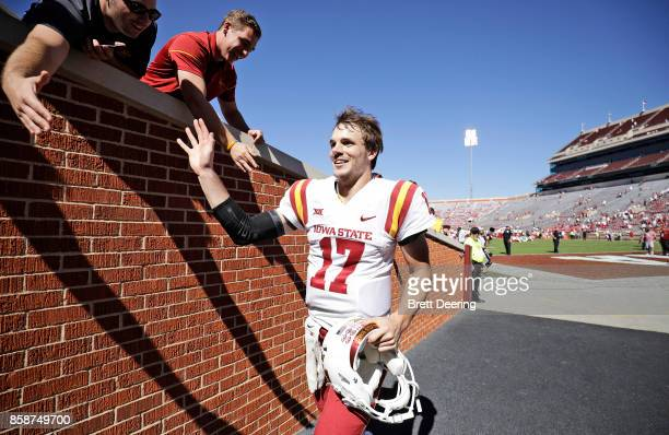 Quarterback Kyle Kempt of the Iowa State Cyclones greets fans after the game Oklahoma Sooners at Gaylord Family Oklahoma Memorial Stadium on October...