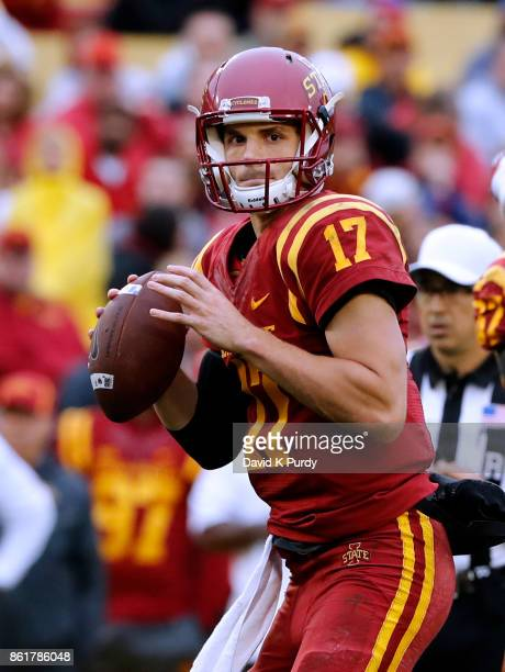 Quarterback Kyle Kempt of the Iowa State Cyclones throws the ball in the second half of play against the Kansas Jayhawks at Jack Trice Stadium on...