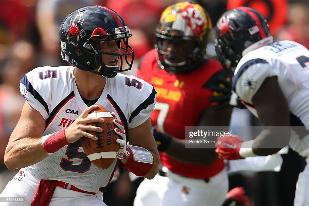 Quarterback Kyle Lauletta #5 of the Richmond Spiders looks to pass in the first quarter against the Maryland Terrapins at Byrd Stadium on September 5, 2015 in College Park, Maryland.