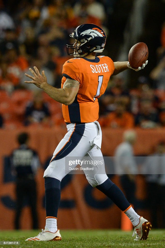 Quarterback Kyle Sloter #1 of the Denver Broncos passes against the Arizona Cardinals during a preseason NFL game at Sports Authority Field at Mile High on August 31, 2017 in Denver, Colorado.