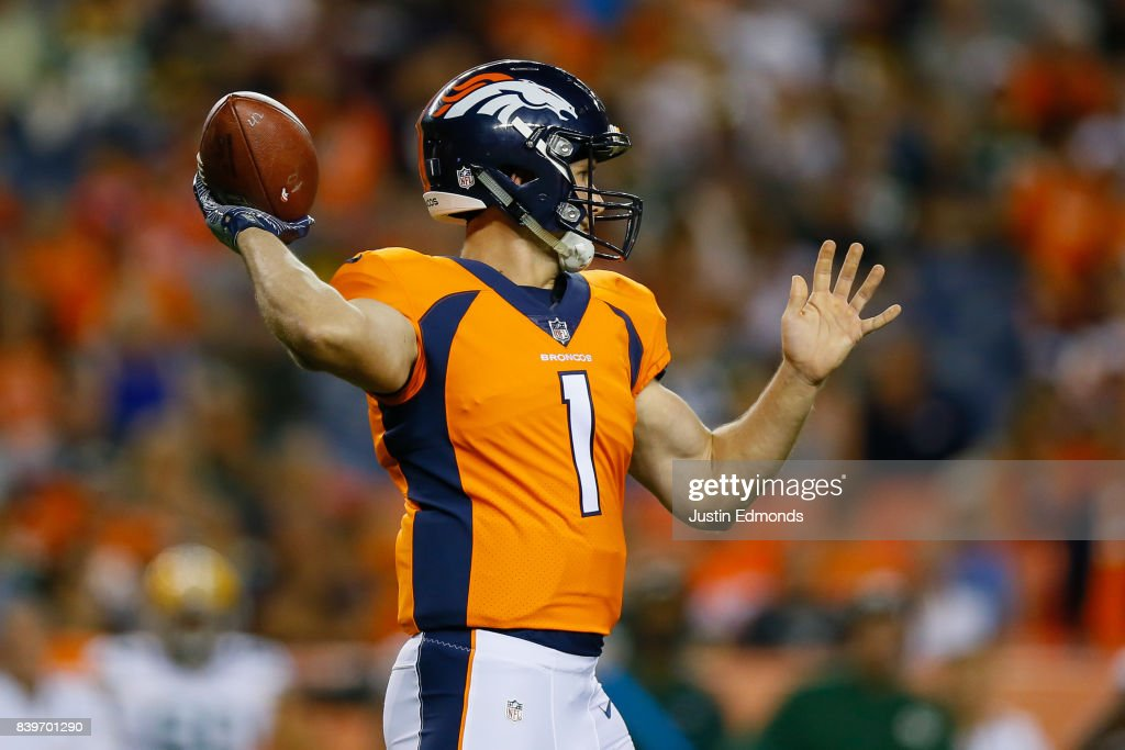 Quarterback Kyle Sloter #1 of the Denver Broncos throws a pass in the fourth quarter during a Preseason game against the Green Bay Packers at Sports Authority Field at Mile High on August 26, 2017 in Denver, Colorado. The Broncos defeated the Packers 20-17.