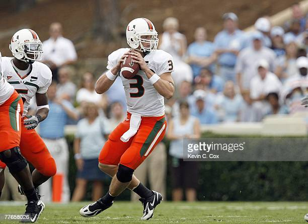 Quarterback Kyle Wright of the Miami Hurricanes looks to pass during the game against the North Carolina Tar Heelsat Kenan Stadium on October 6, 2007...