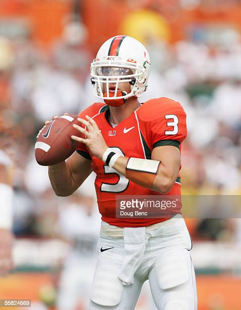 Quarterback Kyle Wright of the Miami Hurricanes prepares to throw a pass against the Colorado Buffaloes at the Orange Bowl on September 24, 2005 in...