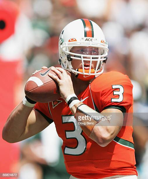 Quarterback Kyle Wright of the Miami Hurricanes prepares to throw a pass against the Colorado Buffaloes at the Orange Bowl on September 24 2005 in...