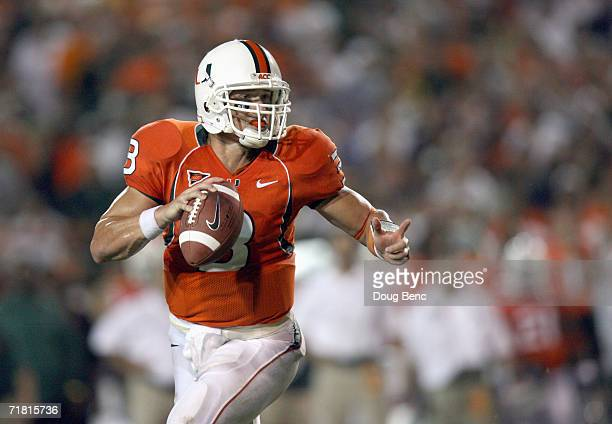 Quarterback Kyle Wright of the University of Miami Hurricanes looks to pass during the game against the Florida State Seminoles at the Orange Bowl...