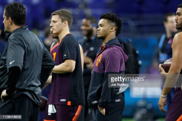 Quarterback Kyler Murray of Oklahoma looks on while sitting out the workout during day three of the NFL Combine at Lucas Oil Stadium on March 2 2019...