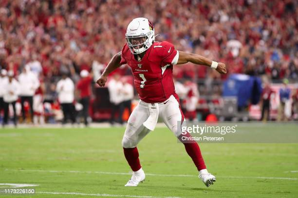 Quarterback Kyler Murray of the Arizona Cardinals celebrates after converting a twopoint conversion against the Detroit Lions during the final...