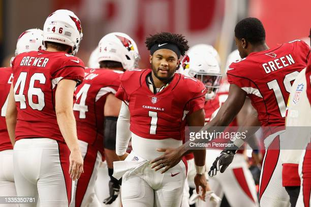 Quarterback Kyler Murray of the Arizona Cardinals is greeted by A.J. Green during introductions to the NFL preseason game against the Kansas City...