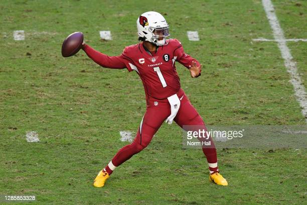 Quarterback Kyler Murray of the Arizona Cardinals looks to pass during the second half against the Buffalo Bills at State Farm Stadium on November...