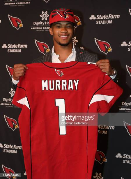 Quarterback Kyler Murray of the Arizona Cardinals poses during a press conference at the Dignity Health Arizona Cardinals Training Center on April 26...