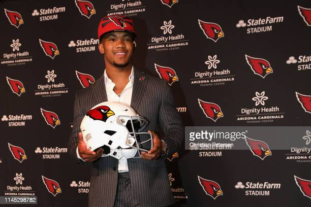 Quarterback Kyler Murray of the Arizona Cardinals poses during a press conference at the Dignity Health Arizona Cardinals Training Center on April...