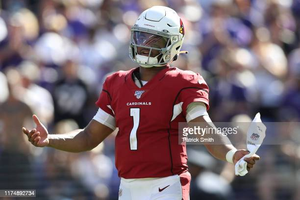 Quarterback Kyler Murray of the Arizona Cardinals reacts after a failed series against the Baltimore Ravens during the fourth quarter at M&T Bank...