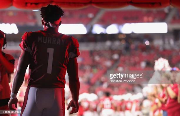 Quarterback Kyler Murray of the Arizona Cardinals takes the field for the NFL preseason game against the Oakland Raiders at State Farm Stadium on...