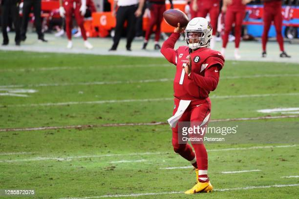Quarterback Kyler Murray of the Arizona Cardinals throws a pass during the NFL game against the Buffalo Bills at State Farm Stadium on November 15,...