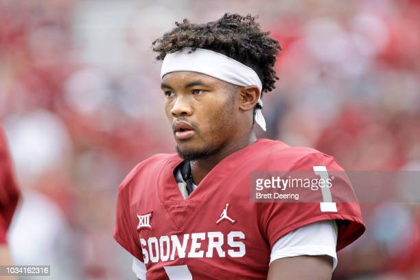 Quarterback Kyler Murray of the Oklahoma Sooners during warm ups before the game against the UCLA Bruins at Gaylord Family Oklahoma Memorial Stadium...