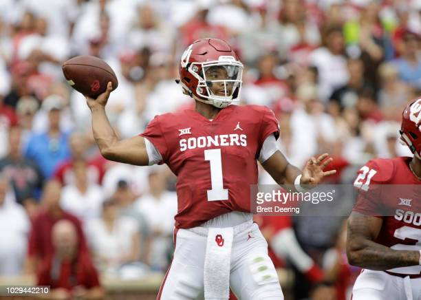 Quarterback Kyler Murray of the Oklahoma Sooners looks to throw against the UCLA Bruins at Gaylord Family Oklahoma Memorial Stadium on September 8...