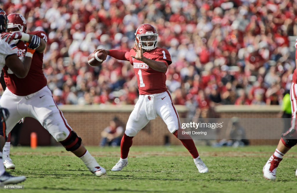 Quarterback Kyler Murray #1 of the Oklahoma Sooners looks to throw against the UTEP Miners at Gaylord Family Oklahoma Memorial Stadium on September 2, 2017 in Norman, Oklahoma. Oklahoma defeated UTEP