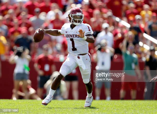 Quarterback Kyler Murray of the Oklahoma Sooners passes the ball in the second half of play at Jack Trice Stadium on September 15 2018 in Ames Iowa...