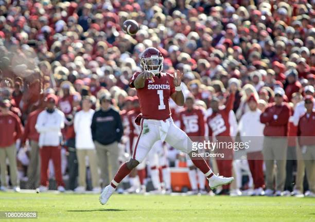 Quarterback Kyler Murray of the Oklahoma Sooners throws against the Oklahoma State Cowboys at Gaylord Family Oklahoma Memorial Stadium on November...