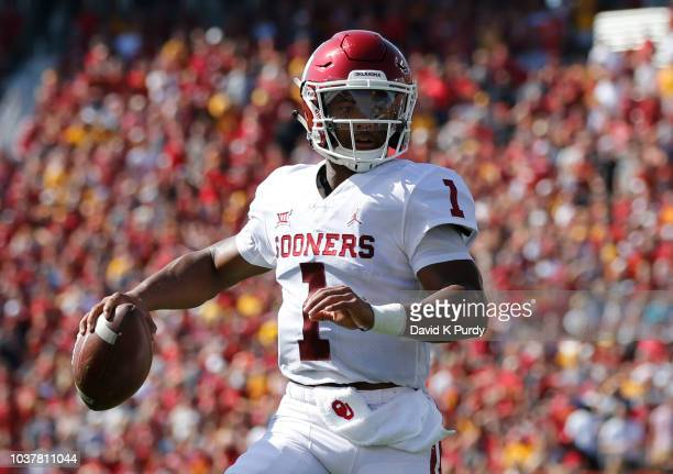 Quarterback Kyler Murray of the Oklahoma Sooners throws the ball in the first half of play against the Iowa State Cyclones at Jack Trice Stadium on...