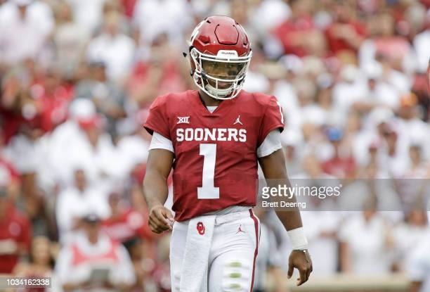 Quarterback Kyler Murray of the Oklahoma Sooners walks on the field during the game against the UCLA Bruins at Gaylord Family Oklahoma Memorial...
