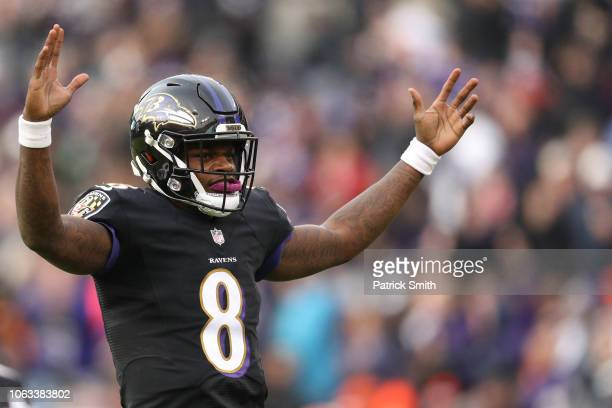 Quarterback Lamar Jackson of the Baltimore Ravens celebrates a Ravens touchdown against the Cincinnati Bengals in the third quarter at MT Bank...