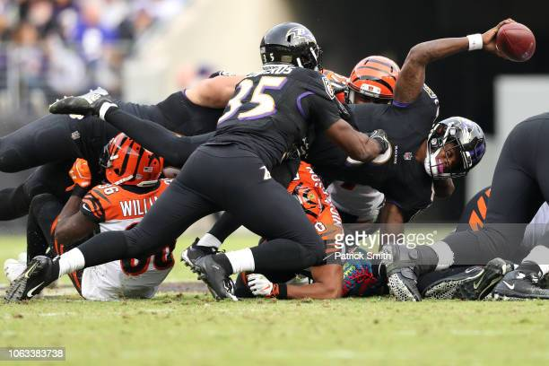 Quarterback Lamar Jackson of the Baltimore Ravens fails to convert a fourth down in the third quarter against the Cincinnati Bengals at MT Bank...