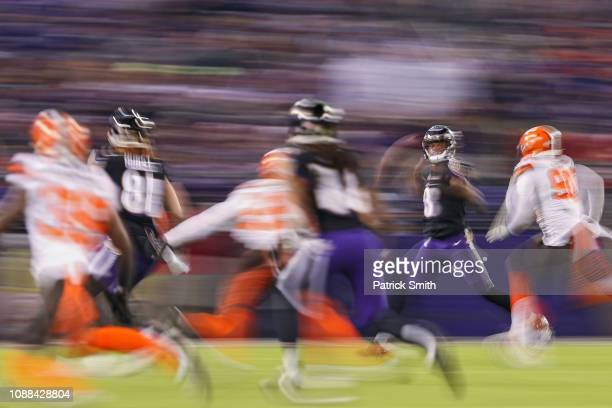 Quarterback Lamar Jackson of the Baltimore Ravens looks to throw the ball in the third quarter against the Cleveland Browns at MT Bank Stadium on...