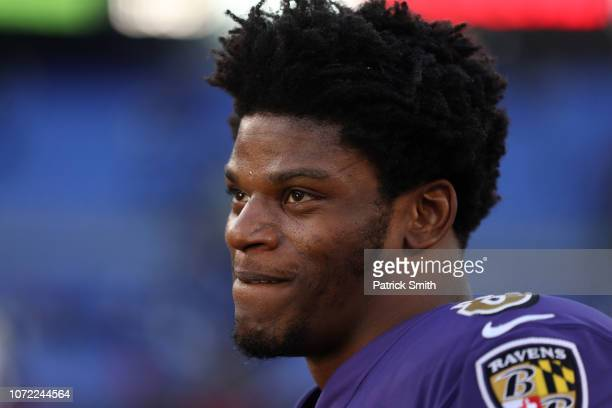 Quarterback Lamar Jackson of the Baltimore Ravens stands on the field after the Baltimore Ravens 3417 win over the Oakland Raiders at MT Bank Stadium...
