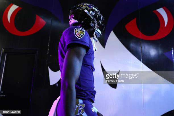 Quarterback Lamar Jackson of the Baltimore Ravens takes the field before playing against the Oakland Raiders at M&T Bank Stadium on November 25, 2018...